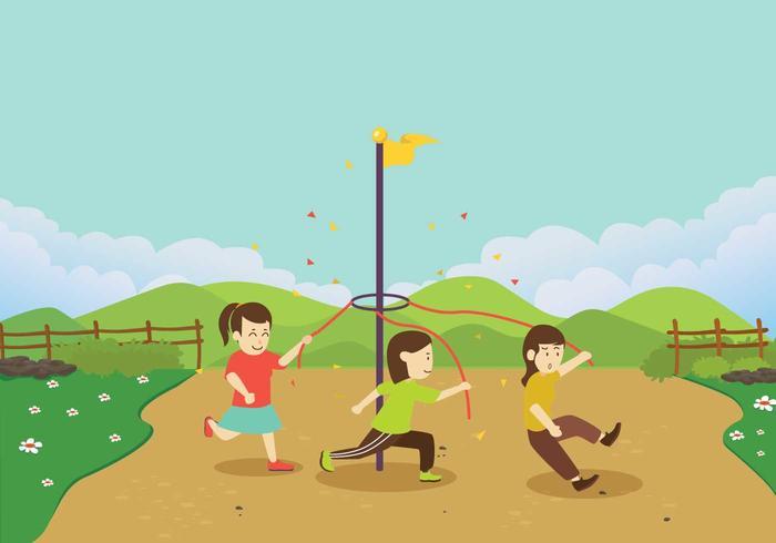 Los niños corriendo alrededor de un vector Maypole