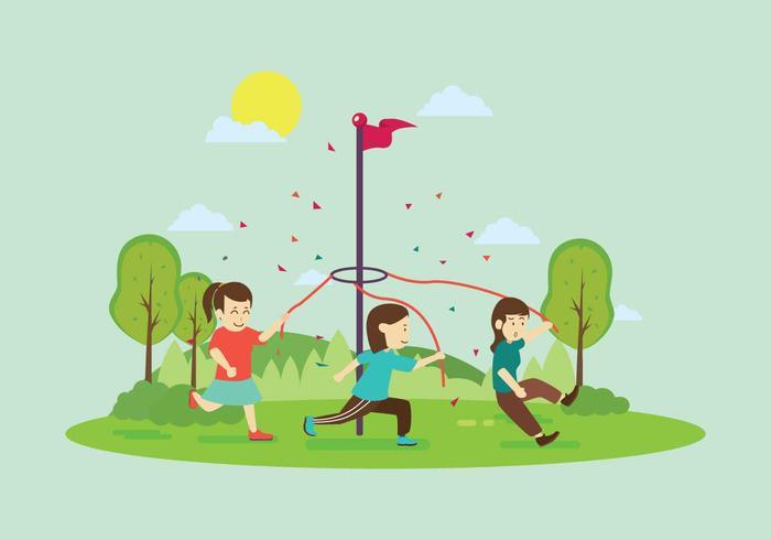 Ilustração livre Maypole Vara Com Crianças