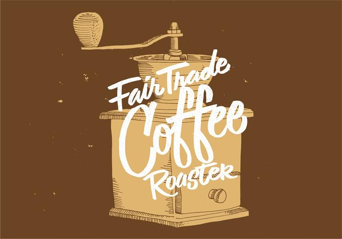 Fair Trade Coffee Grinder Design vector