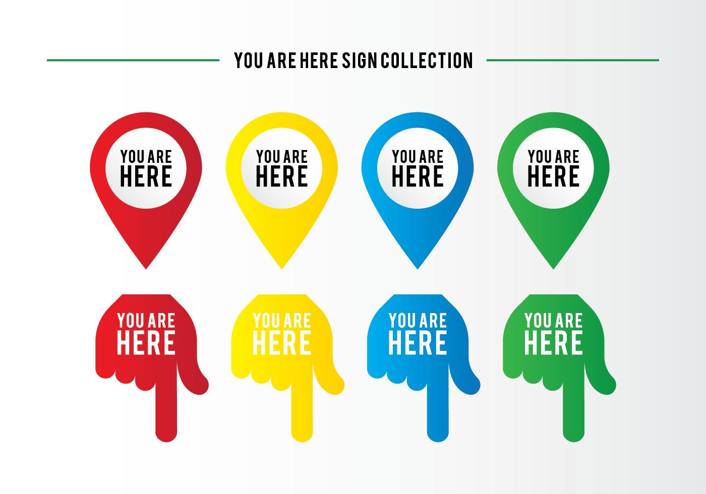 Mapa Plano Con Pin Icono De Puntero De La: Usted Está Aquí Colección De La Muestra