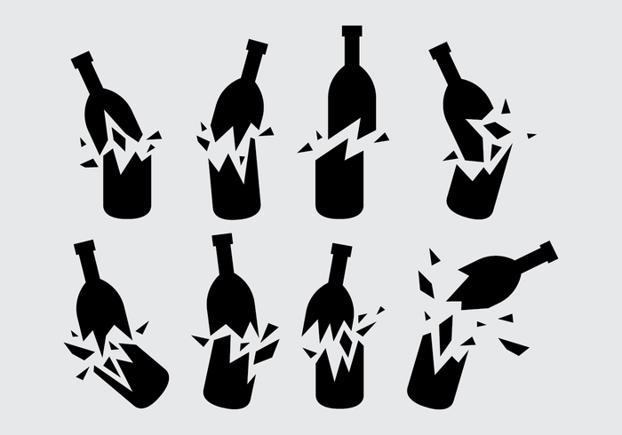 Black Broken Bottle Vector