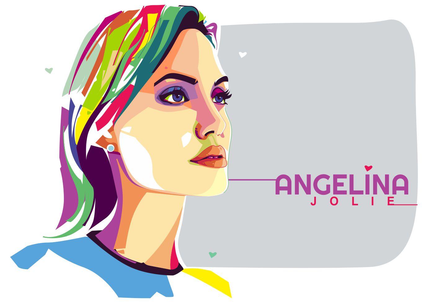 Angelina Jolie Vector Popart Portrait Download Free