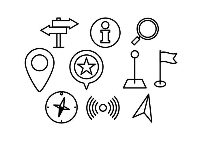 Mapa libre icono del puntero lineal vectorial