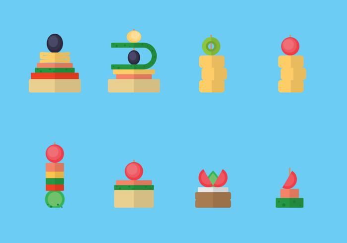 Canape Snacks Flat Illustration