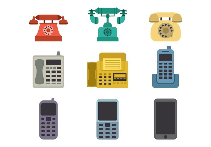 Evolution of The Telephone Icons Vector