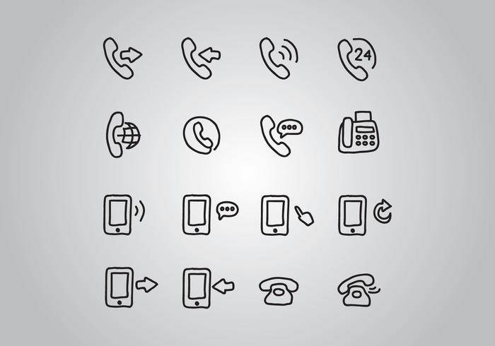 Set Of Doodled Telephone Icons