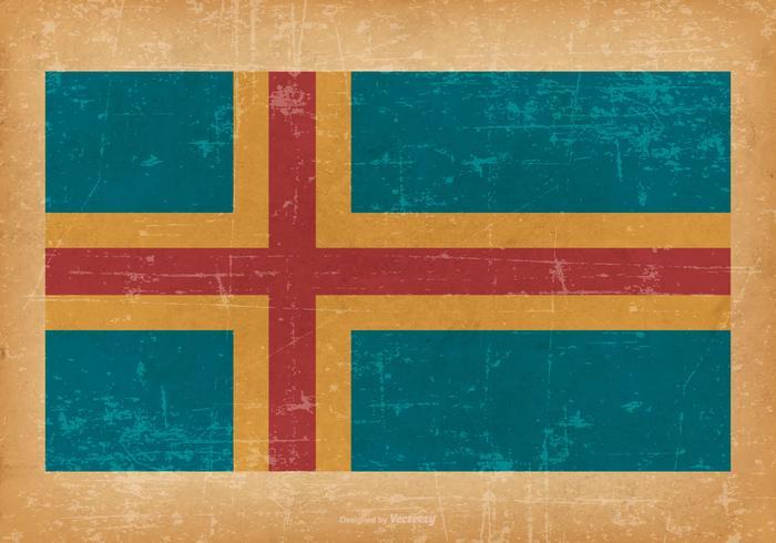 Flag of Aland on Grunge Background vector