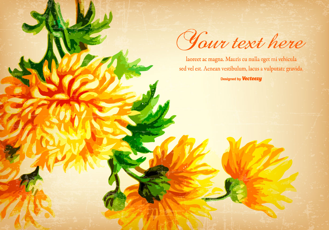Beautiful Yellow Vintage Flower Background Download Free Vector