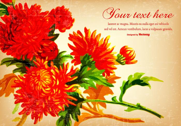 Beautiful Red Vintage Flower Background