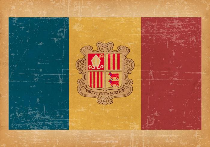 Andorras flagga på Grunge Style Bakgrund