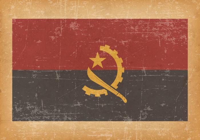Flag of Angola on Grunge Background