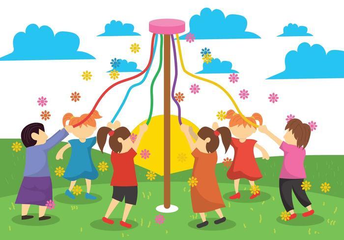 Maypole Children Illustration