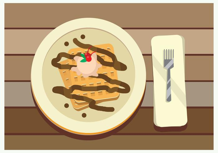 Belgian Waffle With Chocolate And CherryTopping Vector