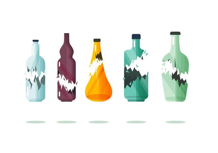 Colección de artículos botella rota vector