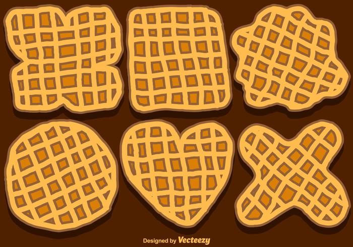 Vector Set Of Hand-Drawn Belgium Waffles