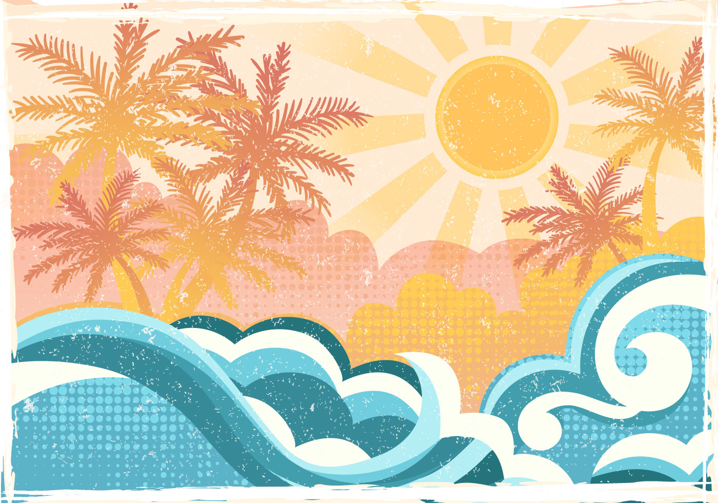 Enjoy Tropical Summer Holidays Backgrounds Vector 04 Free: Tropical Beach In Flat Style