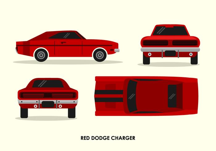 Vintage Red Dodge Charger Front Back Top Sedd från sidan Vector Illustration