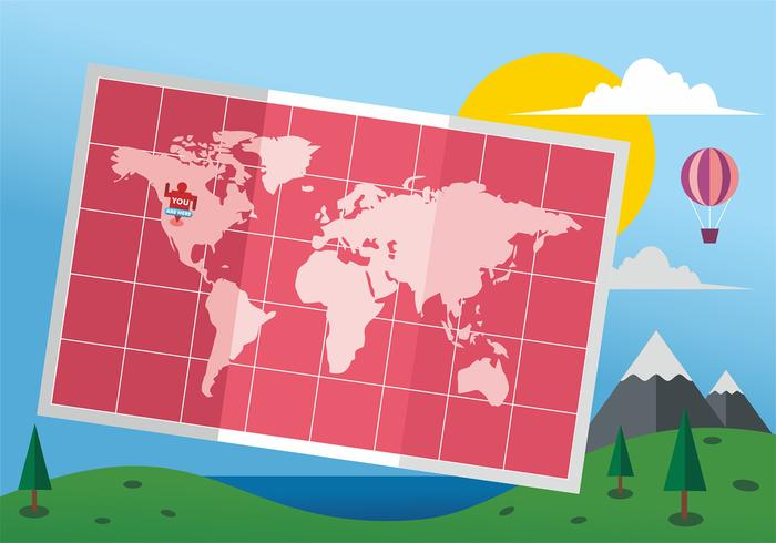 Gefaltete Weltkarte Mapa Mundi Vektor-Design vektor