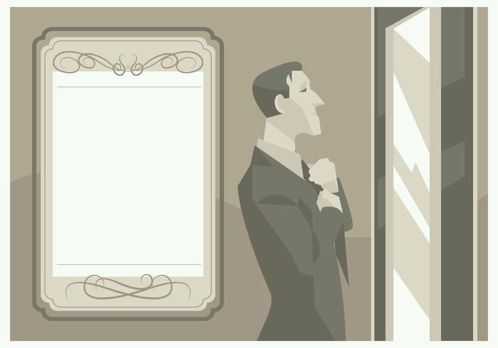 A Groom In Front of a Mirror Vector
