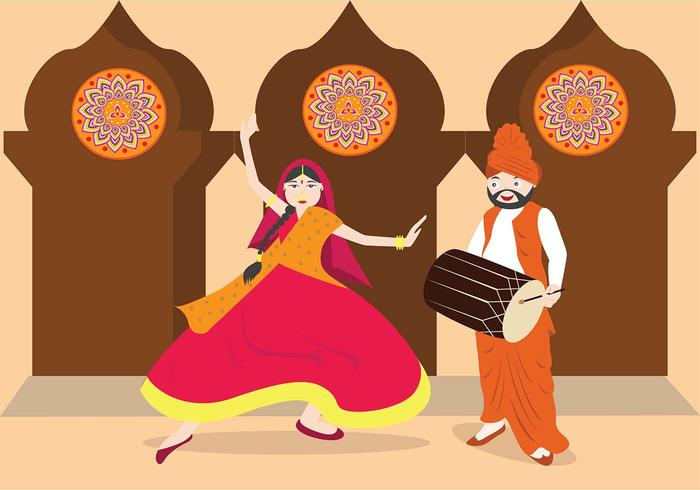 Bhangra traditionele dans vector