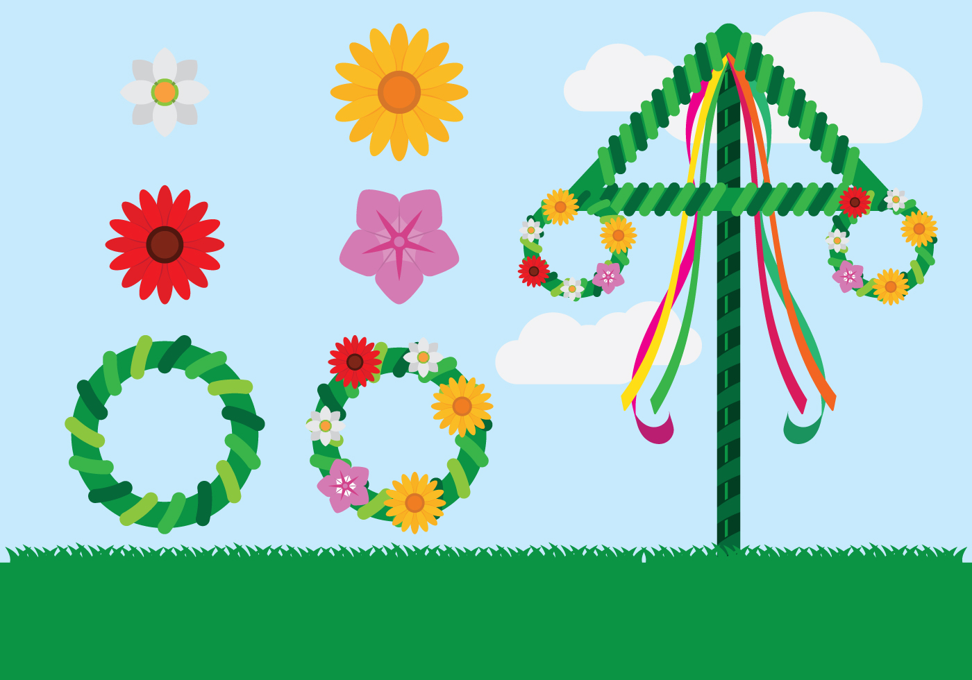 swedish midsummer free vector art
