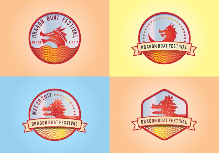 Dragon Boat Festival Logo Elements vector