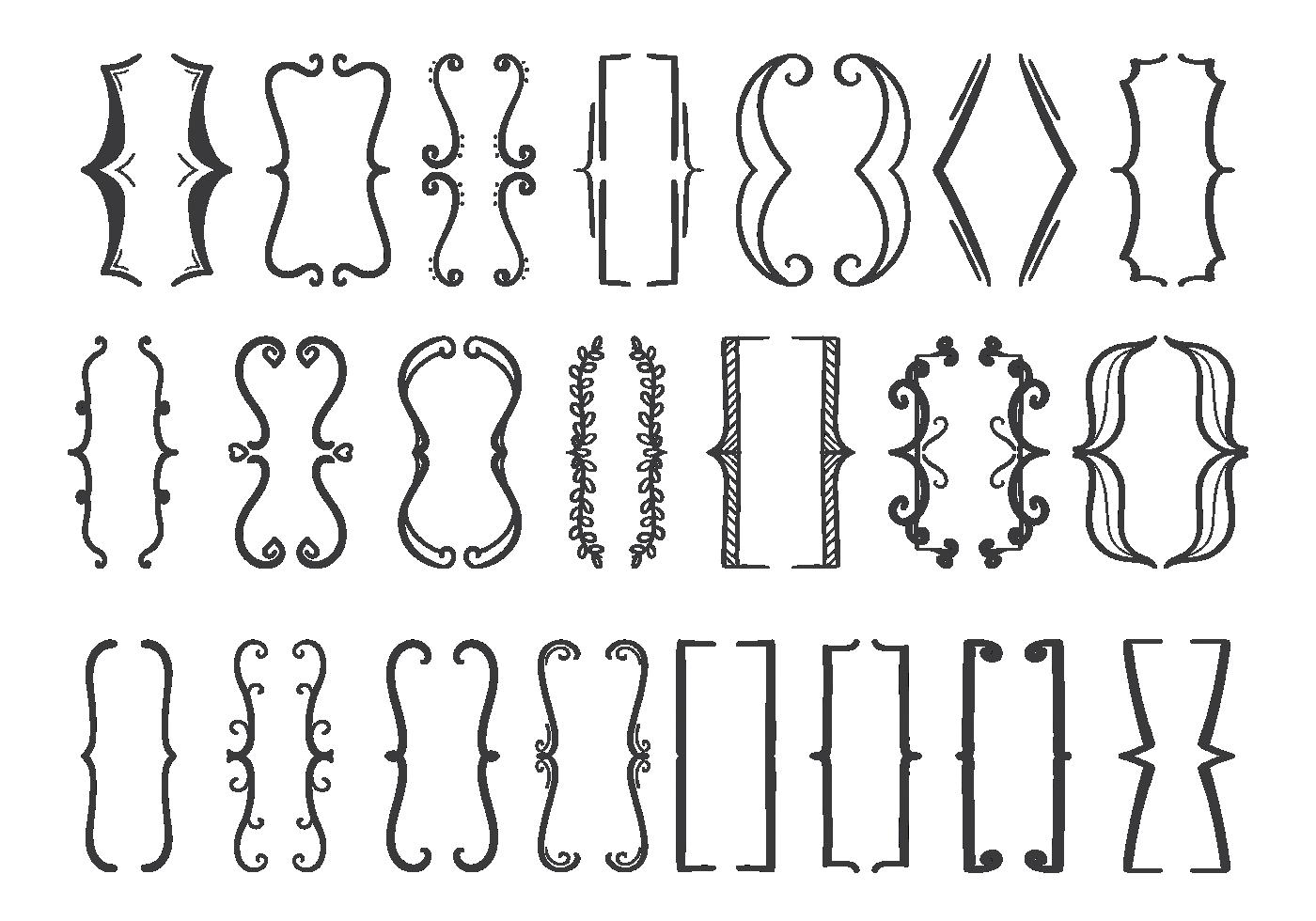 bracket icons set
