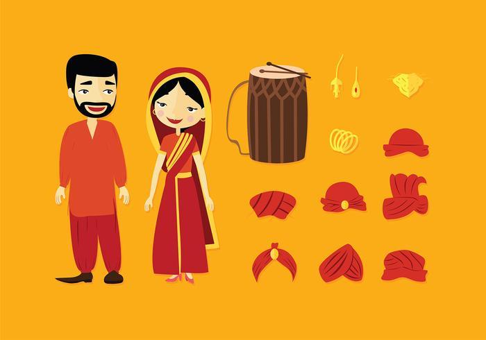 icona di bhangra imposta vettoriali gratis