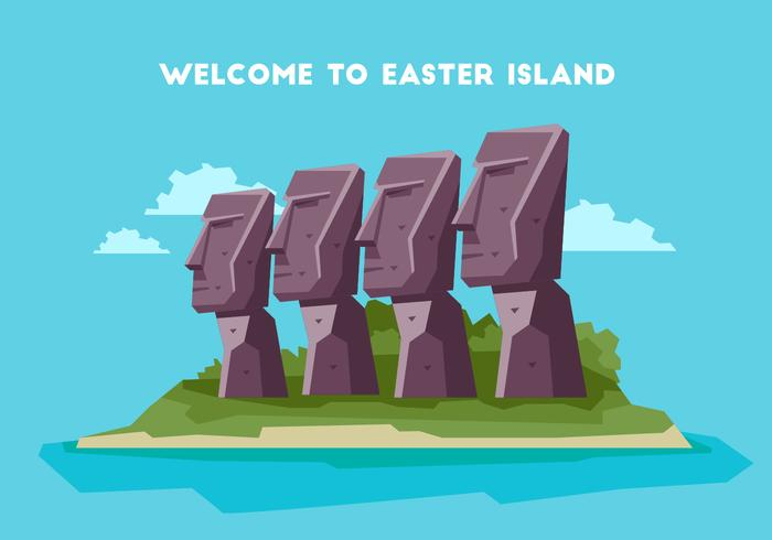 Easter Island Welcome Board Vector Illustration