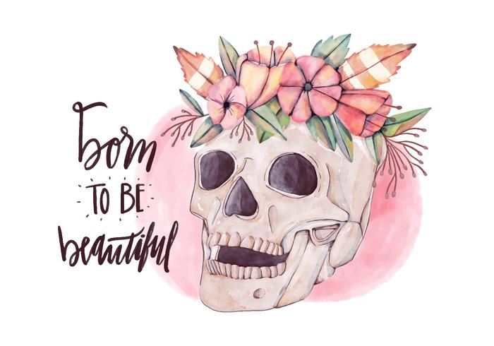 Born to Be Beautiful Skull doux port vecteur fleurs aquarelle style