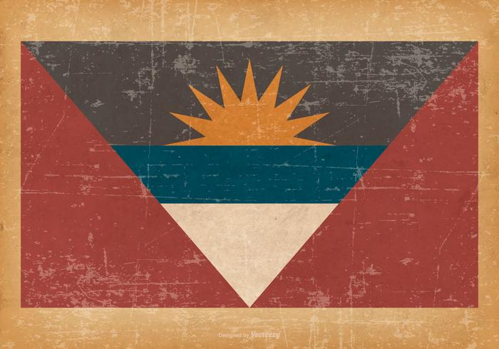 Antigua and Barbuda Flag on Old Grunge Background