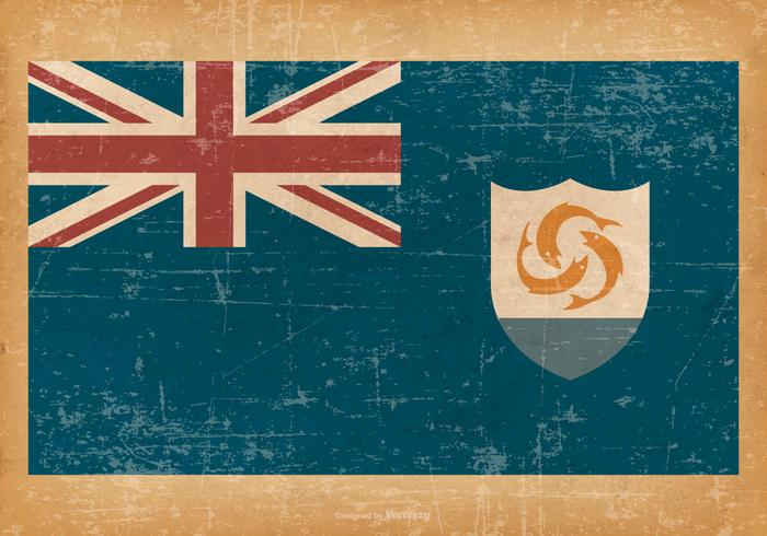 Flag of Anguilla on Grunge Style Background