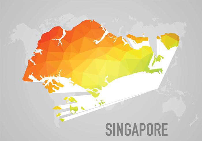 Polygonal Singapore Maps Background Vector