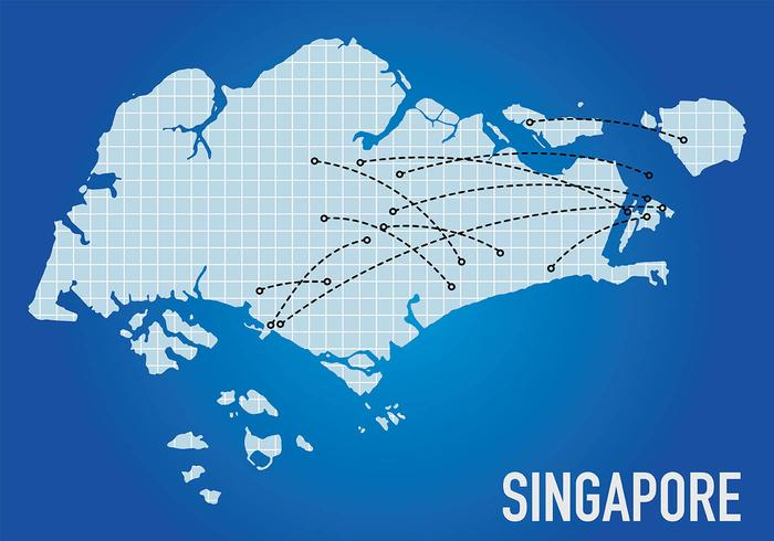 Mapas de Singapura Voo Vector Background