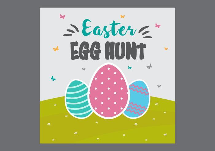 Free Easter Egg Hunt Card Vector