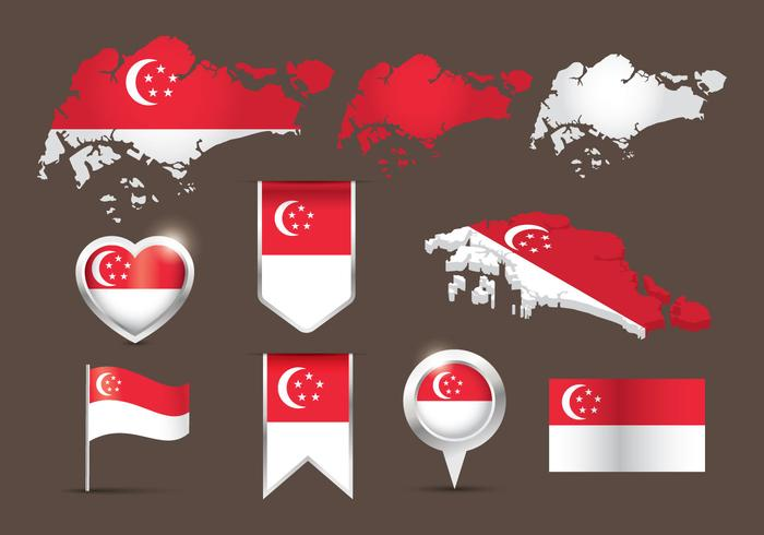 Flag Singapore Map Vector