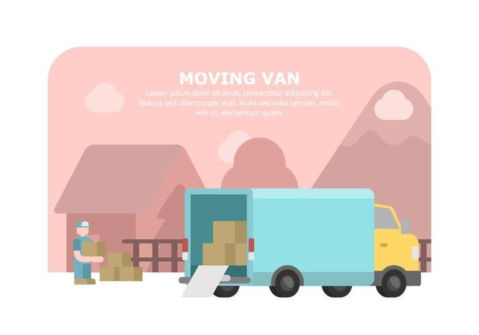 Blue Moving Van Illustration