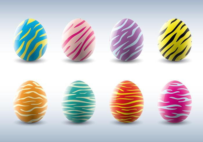 Animal Stripe Vector Easter Eggs