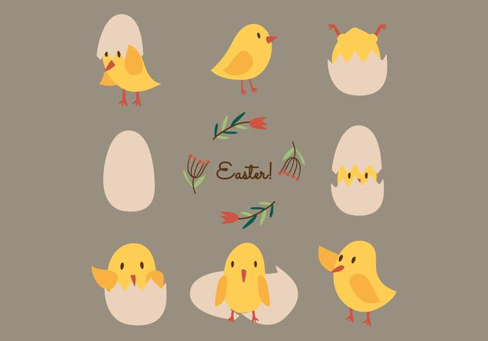 Cute Vector Easter Chicks