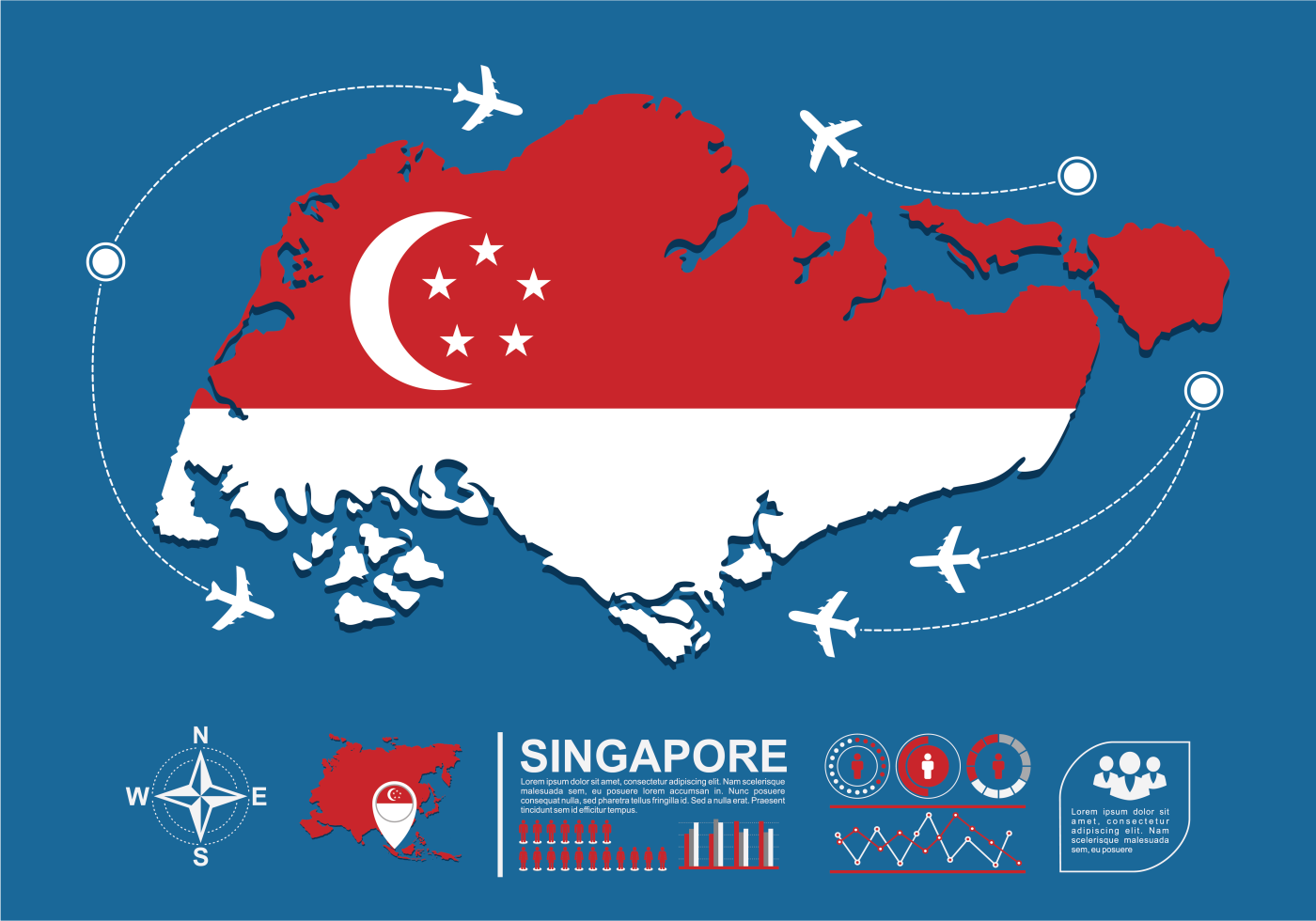 Singapore Map Infographic Download Free Vector Art