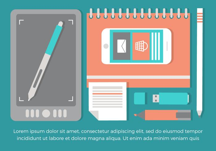 Free Flat Workspace Vector Background