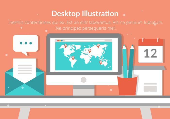 Free Desktop Vector Flat Design Illustration