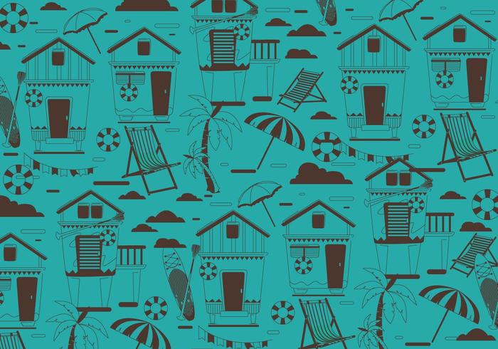 Beach Cabana Pattern Vector