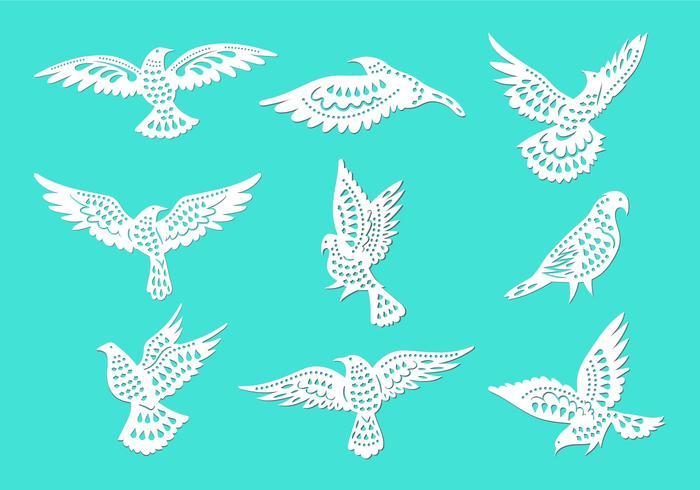 Dove or Paloma Peace Symbols Paper Cut Style Vectors