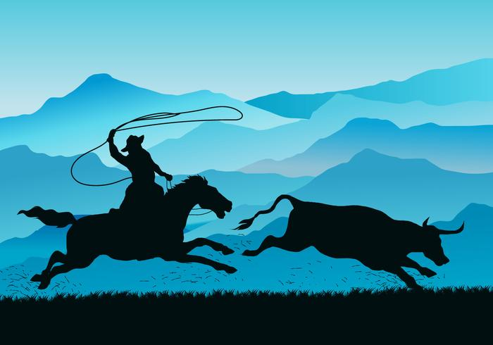 Gaucho Pursuing Wild Cow Vector