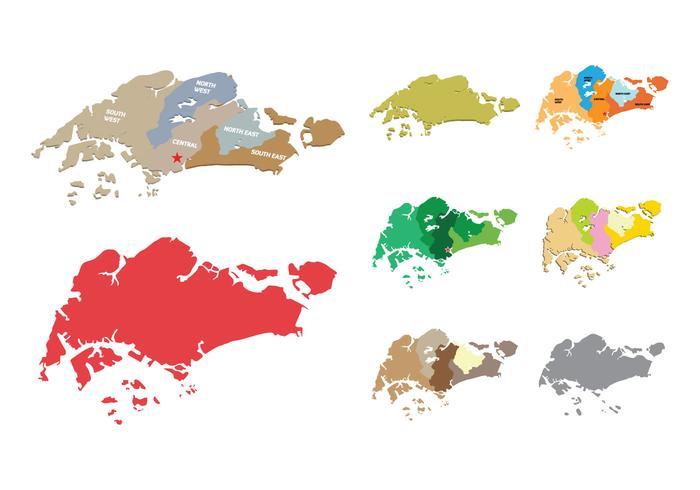 Singapura Mapa Vectors