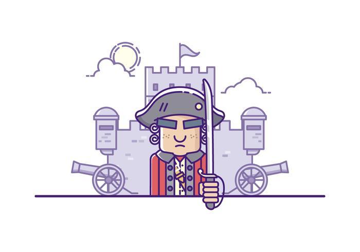 Vector Hombre Colonial Ejército Ilustración
