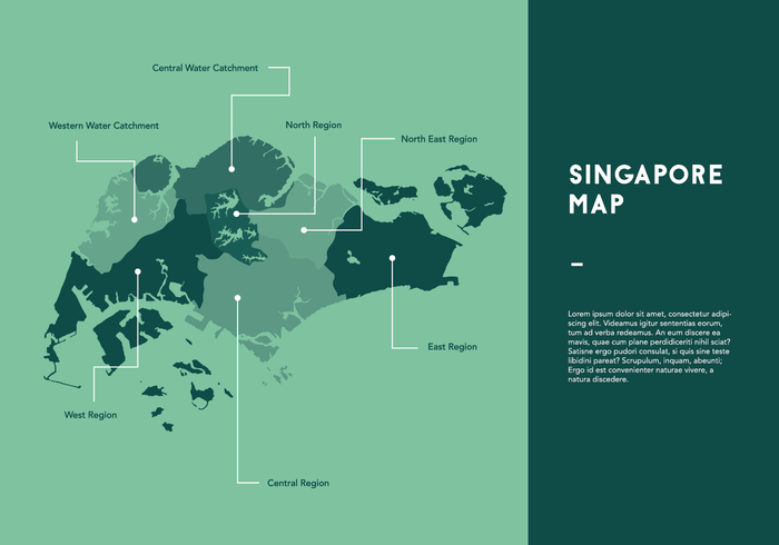 Green Singapore Map Vector Download Free Vector Art Stock - Singapore map vector