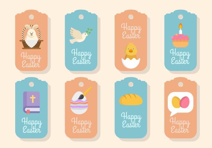 Flat Easter Gift Tag Vectors