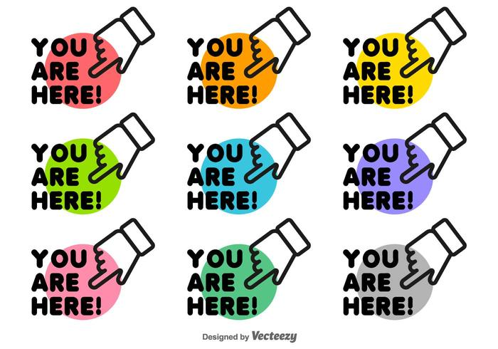 You Are Here Icon Set Vector